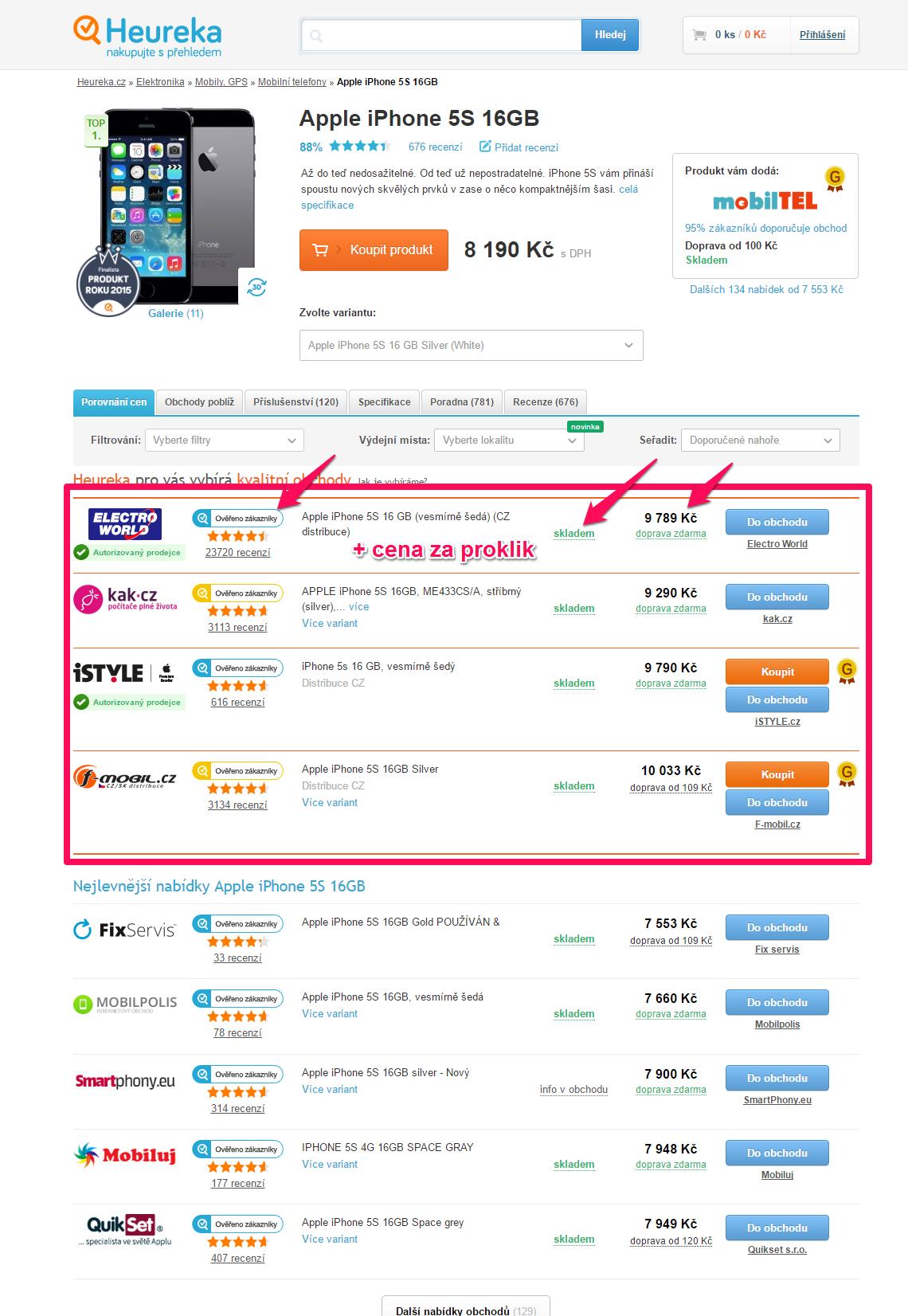 Dále jsou e-shopy seřazeny standardně podle ceny zboží a za klik je  účtována minimální cena sekce. Doporučené obchody ... 7b915bd2d95