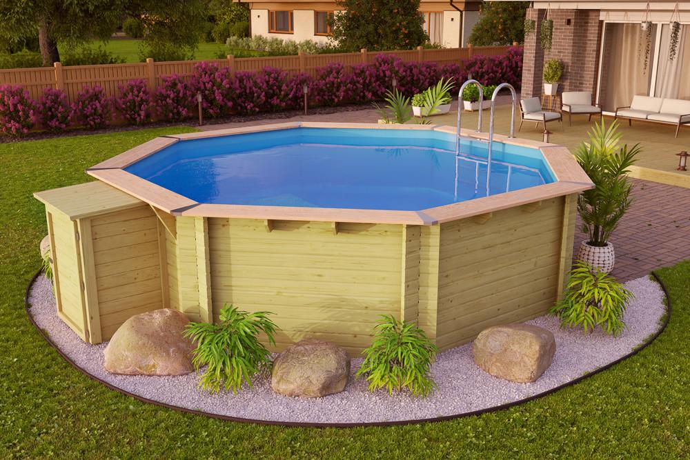 Osmiúhelníkový bazén s dřevěným obložením vypadá velmi luxusně