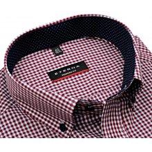 Modern Fit – košile s vínově červeno-modrým kárem s vnitřním límcem - extra  prodloužený 49f66dd4ac