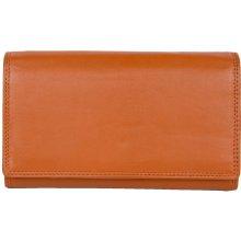 Klasická oranžová kvalitní kožená peněženka HMT
