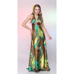 Hnědé vzorované saténové dlouhé letní Společenské šaty za krk na svatbu 475b884868