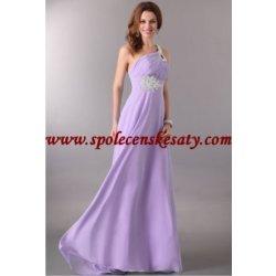 Luxusní společenské světle fialové lila dlouhé šifonové svatební šaty na  jedno rameno 75a4c0953b