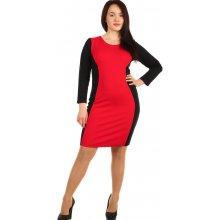 caba681189d4 YooY šaty s dlouhým rukávem pro plnoštíhlé červená černá