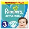 Plenky Pampers Active Baby-Dry 3 Midi 5-9 kg 208 ks