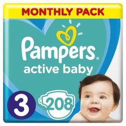 Pampers Active Baby-Dry 3 MIDI 5-9 kg 208 ks