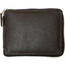 kožená peněženka dokola na kovový zip Hnědá