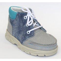 Kojenecké boty První krůčky dětské kožené kožené celoroční boty šedomodré f84ce34150