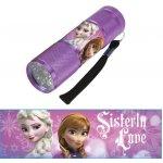 Euroswan Dětská hliníková LED baterka Ledové Království lila 9x3x3 cm