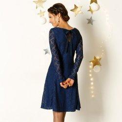 396c1667324 Blancheporte krajkové šaty s dlouhými rukávy modrá