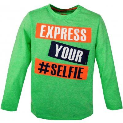 PRIMARK Zelené tričko s potiskem dlouhý rukáv