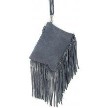 kabelka z brúsenej kože 65 šedá