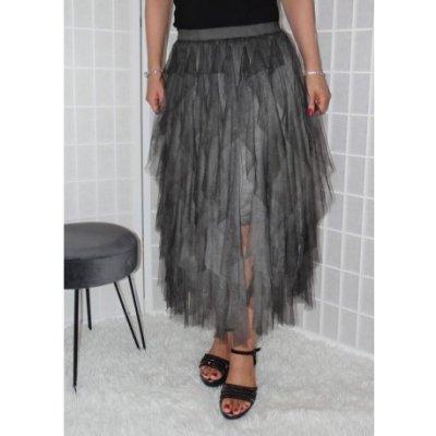 Tylová sukně s volánky tmavě šedá Vionnetta
