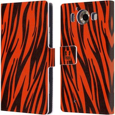 Pouzdro HEAD CASE Microsoft Lumia 950 / LUMIA 950 DUAL SIM Zvířecí barevné vzory oranžový tygr