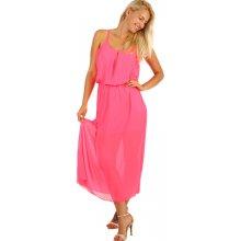 2e7e960d9139 YooY dlouhé šifonové maxi šaty neon růžová