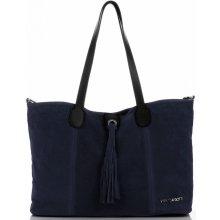 e6ee01cb85 Vittoria Gotti kožená kabelka Shopper Made in Italy Tmavě Modrá