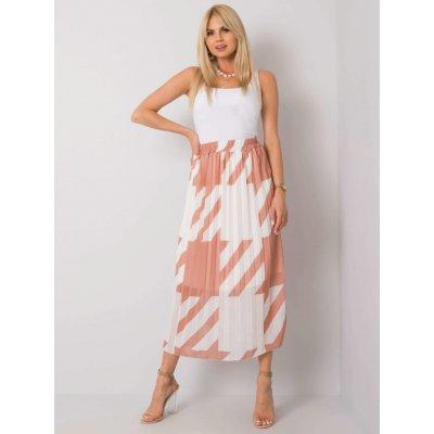 Skládaná sukně se vzory světle hnědá