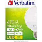 Verbatim LED žárovka E27 220-240V 7W 470lm 2700k teplá bílá