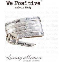 Náramek We Positive Černý wrap s nápisy a krystaly Swarovski Elements Black SW005