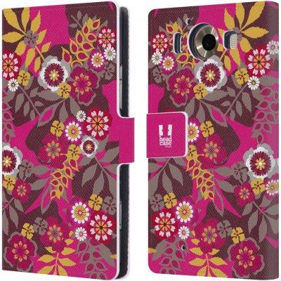 Pouzdro HEAD CASE Microsoft Lumia 950 / LUMIA 950 DUAL SIM BOTANIKA růžová a hnědá
