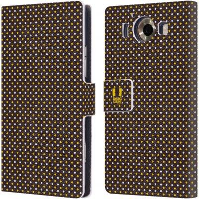 Pouzdro HEAD CASE Microsoft Lumia 950 / LUMIA 950 DUAL SIM VČELÍ VZOR puntíky hnědá a žlutá