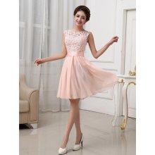 LM moda plesové šaty krátké s krajkou jemně meruňková 84d3d5a6f15