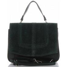 30fbbe51e4 Vittoria Gotti klasická kožená kabelka listonoška Lahvově Zelená