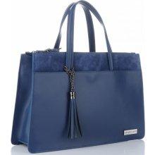 cf283de553 Vittoria Gotti Made in Italy elegantní dámská kabelka kožená kufřík Modrá