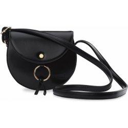 dámská retro kabelka s klopou klasická listonoška půlkruhová černá ... a4aeab00553