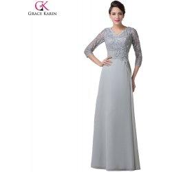 f9997428605 Grace Karin dlouhé společenské šaty s krajkovým živůtkem a rukávy CL6247  Šedá