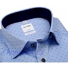 3a8c90e8cd2 Olymp Comfort Fit Rybí kost Luxusní světle modrá košile se vzorem a  vnitřním límcem a manžetou