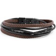 Lucleon Černo-hnědý kožený náramek Roy MP_bracelet239