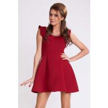 Dámské společenské šaty krátké s rozšířenou sukní bordó 96db80ca87