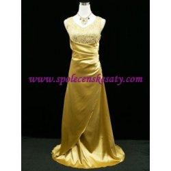 Zlaté žluté společenské plesové svatební šaty s flitrovaným topem ... bd46bb3b901