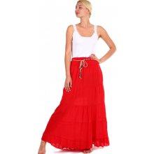 459bfec2f95 TopMode maxi sukně s korálkovým páskem červená