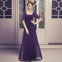 ad6c60628db0 Dlouhé luxusní šaty šifonové s rukávem fialová. Elegantní společenské ...