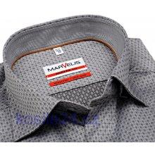 Marvelis Modern Fit šedá košile s vetkaným vzorem a vnitřním límcem  prodloužený rukáv 6608e148ef