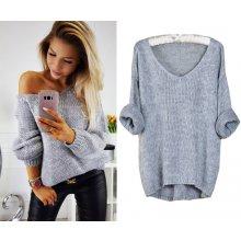 Fashionweek Báječný pleteny luxusní svetr dámský V-neck ALPAKA MD12 W28 šedý c3d19f5e44