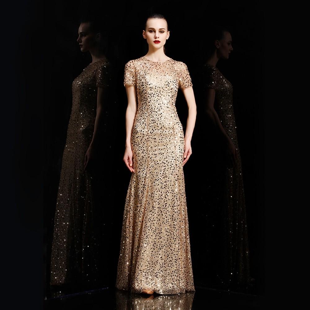 1705ba80532 Dorisqueen luxusní flitrované šifonové šaty s krátkým rukávem DQ1565 zlatá