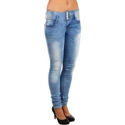 Glara Dámské džíny s vyšisovaným efektem modrá 74381 alternativy ... cdd62dce26
