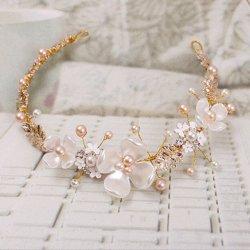 5106d541e80 B-TOP Svatební ozdoba do vlasů KVĚTY S PERLAMI - bílá zlatá růžová ...