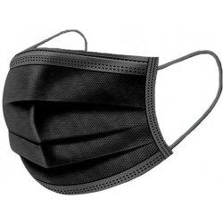 BlackYuan rouška jednorázová 3 vrstvá černá 50 ks