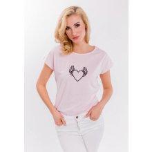 20047a1578 Dámské tričko s potiskem srdíčka s křídly Pudrově růžová