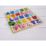 Bigjigs Toys Dřevěná motorická vzdělávací hračka Abeceda malá písmena