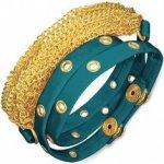 Náramek z kůže vybíjaný modrý pás a zlaté řetízky AB21.04