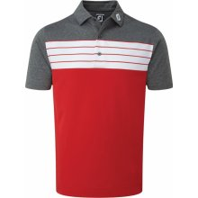 Footjoy polo Stretch Striped Colour Block červeno šedé