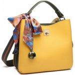 Miss Lulu Menší kabelka do ruky s dekoratívním šátkem žluto-zelená