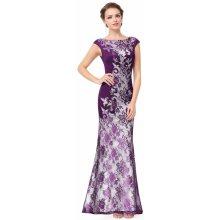 Dlouhé luxusní šaty s rukávkem na svatbu ples do opery fialová 1b8385e000