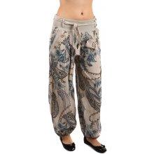 067474e427d Glara Stylové volné kalhoty se zajímavým vzorem béžová
