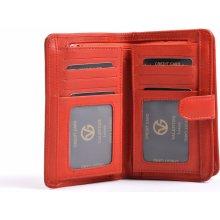Valentini Dámská peněženka na výšku kožená se zipem na drobné červená, 10 x 2 x 13 (SV00-306ST01-00KUZ)