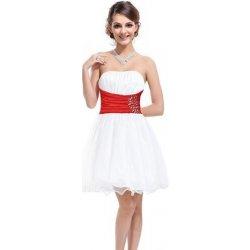 8723cf9183b krátké svatební Společenské šaty bez ramínek s červenou stuhou Bílé ...